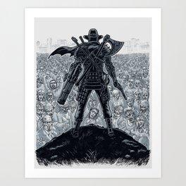 Cowboy Samurai Viking Robot Knight Ninja Pirate VS 1.000.000 Zombies Art Print