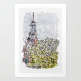 Aquarelle sketch art. The Montelbaanstoren is a tower on bank of the Oudeschans, Amsterdam canal in the Netherlands Art Print