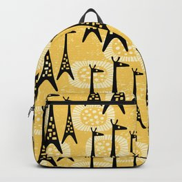 Mid Century Modern Giraffe Pattern Black and Yellow Backpack
