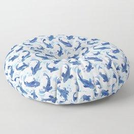 Koi Fish Dance / blue watercolor Floor Pillow