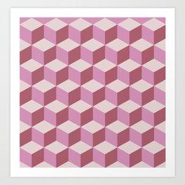 Shades Of Mauve Tumbling Blocks Pattern Art Print