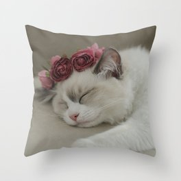 SLEEPY KITTY by Monika Strigel Throw Pillow