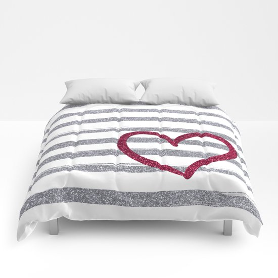 Red Heart on Shiny Silver Stripes Comforters