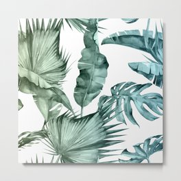 Tropical Palm Leaves Turquoise Green Blue Gradient Metal Print