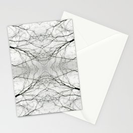 Abstract Bokeh Branches - Black & White Mood Stationery Cards