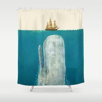 play Shower Curtains featuring The Whale - colour option by Terry Fan