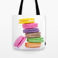 macaroons Tote Bags featuring MacaroonS Colorful by WhimsyRomance&Fun