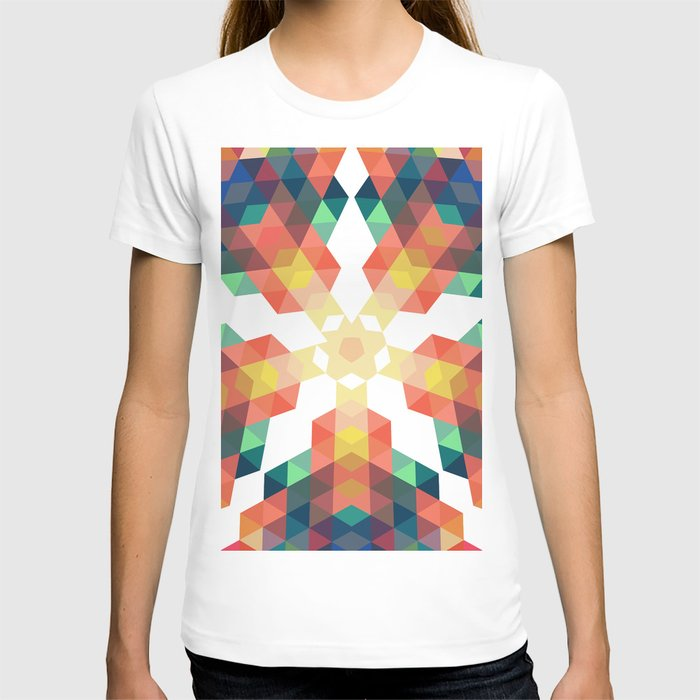 Retro star backdrop. Mosaic hipster background made of triangles T-shirt