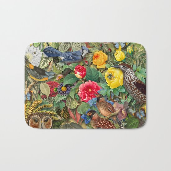 Birds Insects Plants Bath Mat