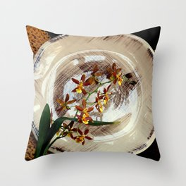 A Brushstroke Of Orchid Genus Throw Pillow