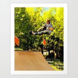 Flying High on Skateboard Ramp at the Park Art Print