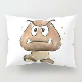 Goomba Watercolor Painting Mario Gamer Videogame Art Pillow Sham