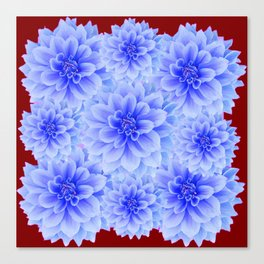 BLUE WHITE DAHLIA FLOWERS IN CHOCOLATE BROWN Canvas Print