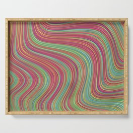 OLEANDER trails of fuschia red grass green abstract Serving Tray