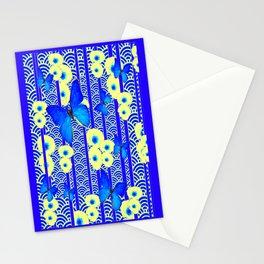 Blue Butterflies Cream-Blue Asia Style Modern Art Stationery Cards