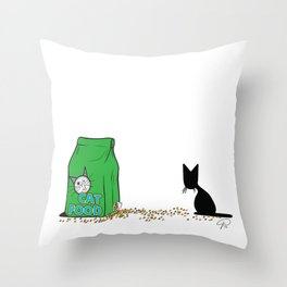 Cat Food Can't Wait (The Naughty Kitten) Throw Pillow