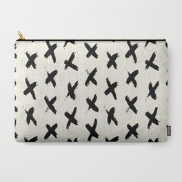 Black X on Ivory Carry-All Pouch