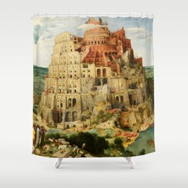 "Pieter Bruegel (also Brueghel or Breughel) the Elder ""The Tower of Babel (Vienna)"" Shower Curtain"