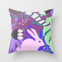 Rabbit and monstera leaves in purple Throw Pillow