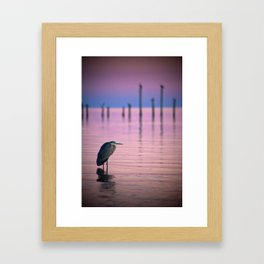 Twilight Heron Framed Art Print