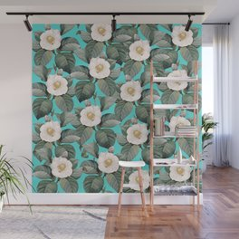 White Camellia Floral On Teal Pattern Wall Mural