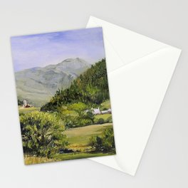 Pastures and Mount Mansfield Oil Landscape Vermont Painting Stationery Cards