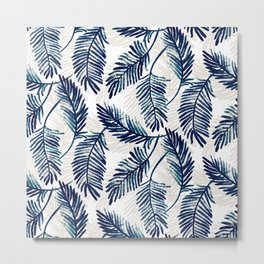 "Blue palm leaves pattern ""Pamela"" Metal Print"