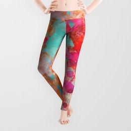 Paint Splatter Turquoise Orange And Pink Leggings