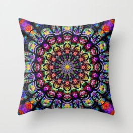 PSYCHEDELIC EARTH MANDALA Throw Pillow