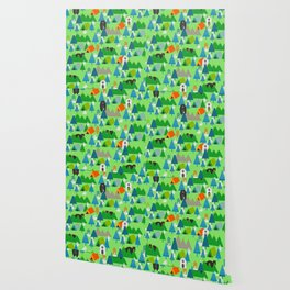 Forest with cute little bunnies and bears Wallpaper