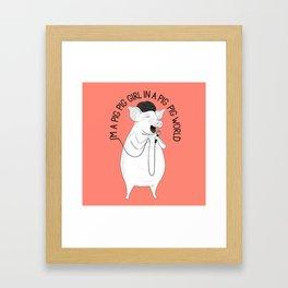 Pig singing Emilia   Animal Karaoke   Illustration   Red Framed Art Print