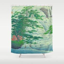 Kawase Hasui, Waterfall, Japanese Woodblock Print Ukiyo-e, Shin-hanga, Landscape Shower Curtain