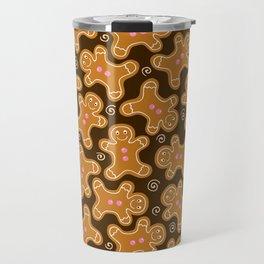 Gingerbread Men Pattern Travel Mug