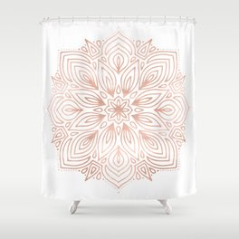 Mandala Rose Gold Flower Shower Curtain