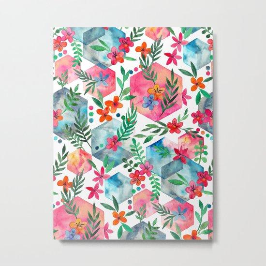 Whimsical Hexagon Garden on white Metal Print