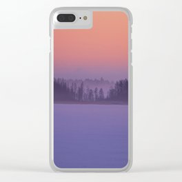 Foggy Winter Evening With Beautiful Sunset Colors In The Sky #decor #buyart #society6 Clear iPhone Case