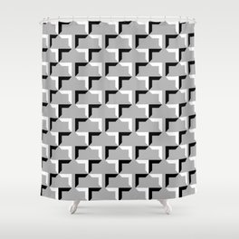 Cornered Pattern - Black and White on Gray Shower Curtain