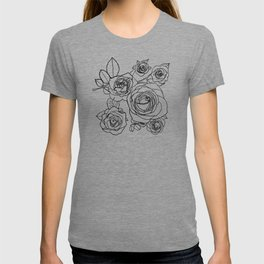 Feminine and Romantic Rose Pattern Line Work Illustration T-shirt