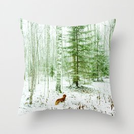 Snowy forest and dachshund Throw Pillow