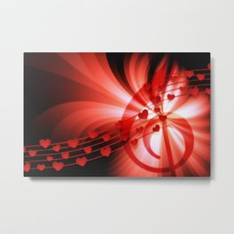 Music Hearts Abstract Background Metal Print