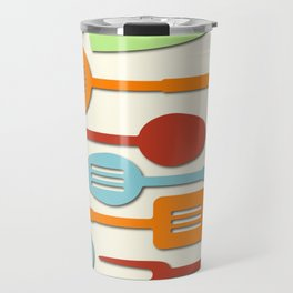 Kitchen Colored Utensil Silhouettes on Cream III Travel Mug