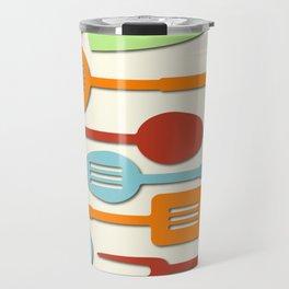Kitchen Colored Utensil Silhouettes on Cream III Travel Mug
