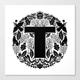 Letter T monogram wildwood Canvas Print