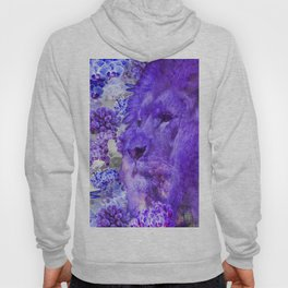 LION AND ORCHIDS  PURPLE AND BLUE FANTASY DREAM Hoody