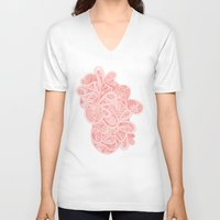 paisley V-neck T-shirts featuring Paisley by Laurie Mildenhall