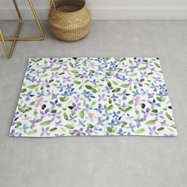 Lilac baby flowers - watercolor spring florals Rug