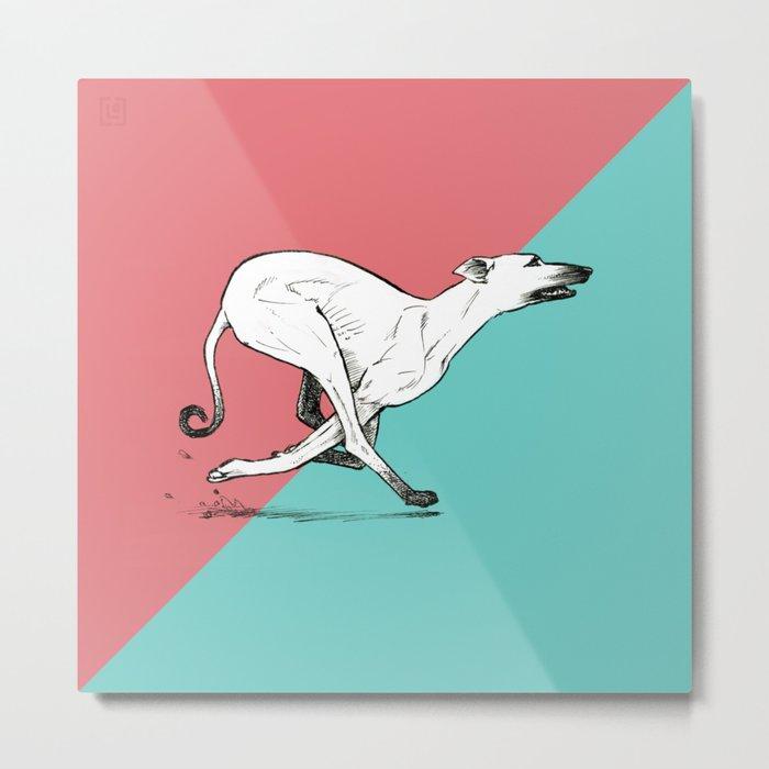Run Greyhound! Metal Print
