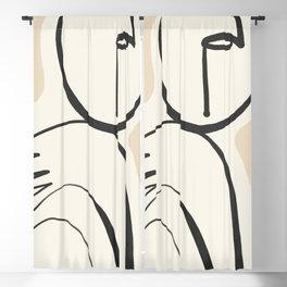 Lady Portrait Abstract Minimal  Line Art 3 Blackout Curtain