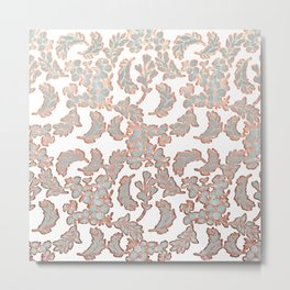 Grey and Rose Gold Leaf Pattern Metal Print