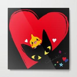 Cockatiel,Black cat,Hearts Metal Print